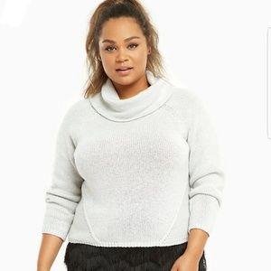 Torrid Light Gray Cropped Cowl Neck Sweater